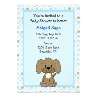 Cute Brown Puppy Dog on Blue Boys Baby Shower 5x7 Paper Invitation Card