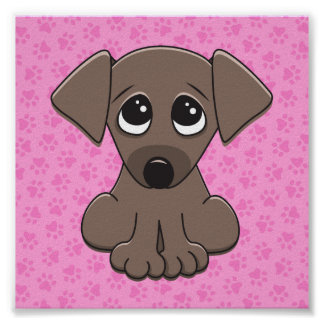Cute brown puppy dog on pink paw print background