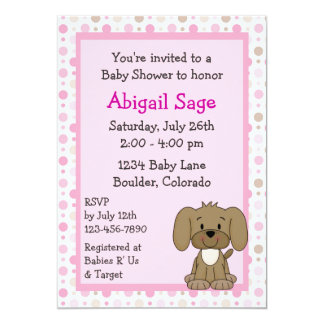 Cute Brown Puppy Dog Pink Girls Baby Shower 5x7 Paper Invitation Card
