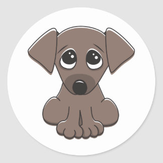 Cute brown puppy dog with big begging eyes classic round sticker