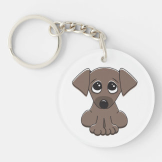 Cute brown puppy dog with big begging eyes acrylic key chain