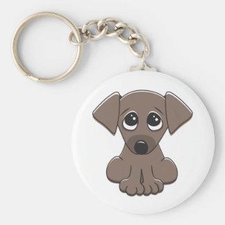 Cute brown puppy dog with big begging eyes keychains