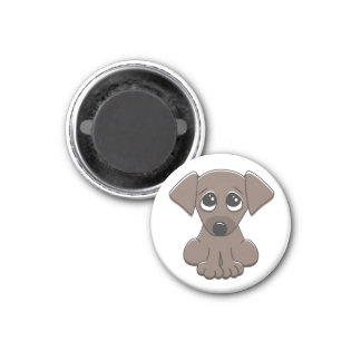 Cute brown puppy dog with big begging eyes magnet