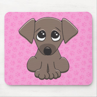 Cute brown puppy dog with big begging eyes mouse pad