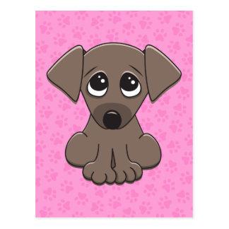 Cute brown puppy dog with big begging eyes postcard