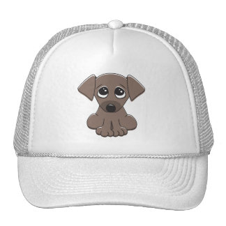 Cute brown puppy dog with big begging eyes trucker hat