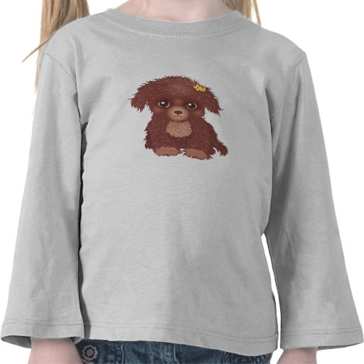 Cute Brown Puppy Long Sleeves T-Shirt