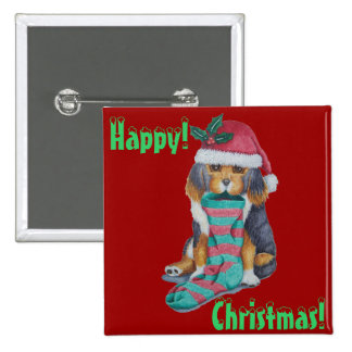 cute brown puppy with Christmas stocking button Pinback Button