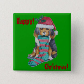 cute brown puppy with Christmas stocking button