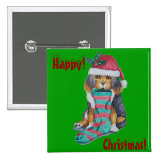 cute brown puppy with Christmas stocking button Pinback Buttons