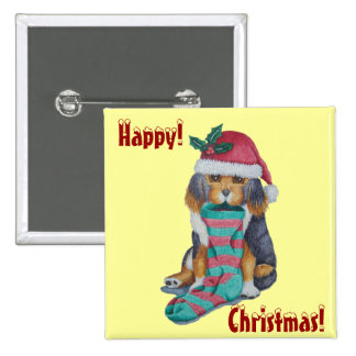 cute brown puppy with Christmas stocking button Pin