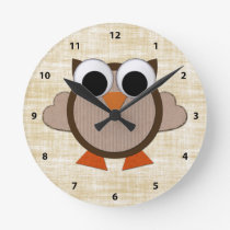 Cute Brown Retro Owl Clock
