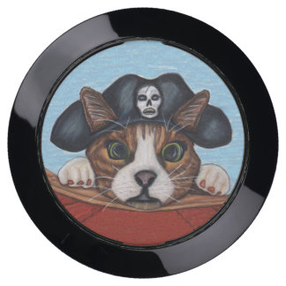 Cute Brown Seasick Looking Pirate Cat on Red Boat USB Charging Station