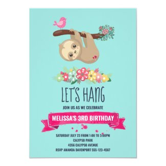 Cute Brown Sloth Hanging Upside down Birthday Invitation