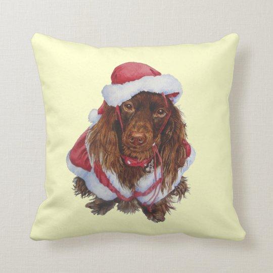 Cute brown spaniel dog realist art Christmas Throw Pillow