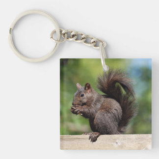 Cute Brown Squirrel on a Wooden Railing Keychain