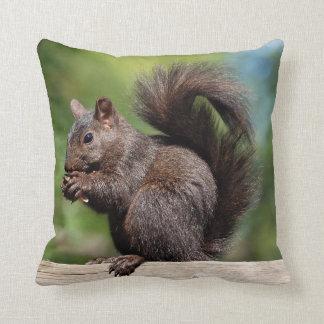 Cute Brown Squirrel on a Wooden Railing Throw Pillow