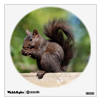 Cute Brown Squirrel on a Wooden Railing Wall Decal