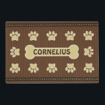 """Cute Brown Stripes Bone and Dog Paws Double Sided Placemat<br><div class=""""desc"""">&#169; Sunny Mars Designs - Brown Stripes Dog Paw and Bone Two Sided Placemat - Cute, stylish personalized custom name polyester-based synthetic double sided paper floor mat featuring a gorgeous brown stripes and polka dots design with dog paws and a dog bone to place your dog&#39;s name on it. Turn...</div>"""