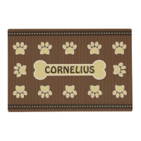 Cute Brown Stripes Bone and Dog Paws Double Sided Placemat