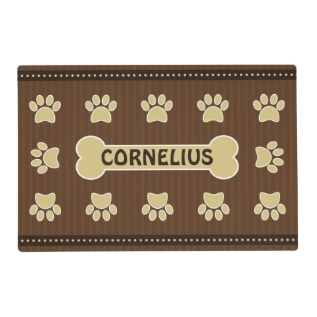 Cute Brown Stripes Bone And Dog Paws Double Sided Placemat at Zazzle