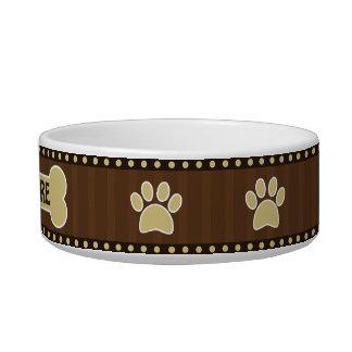 Cute Brown Stripes Bone and Paws Medium Dog Bowl
