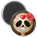 Cute Brown Sugar Skull 2 Inch Round Magnet