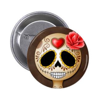 Cute Brown Sugar Skull Button