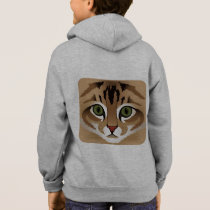 Cute brown tabby cat face name kid's hoodie