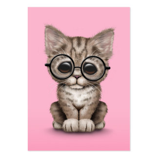 Cute Brown Tabby Kitten with Eye Glasses, pink Large Business Cards (Pack Of 100)