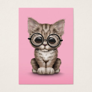 Cute Brown Tabby Kitten with Eye Glasses, pink Business Card