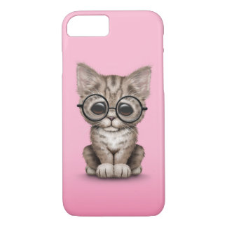 Cute Brown Tabby Kitten with Eye Glasses Pink iPhone 7 Case