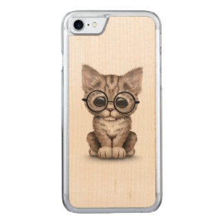 Cute Brown Tabby Kitten with Eye Glasses White Carved iPhone 7 Case