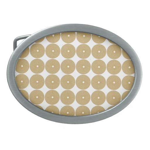 Cute Brown Tan Circles Disks Poker Chips Pattern Oval Belt Buckles