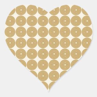 Cute Brown Tan Circles Disks Poker Chips Pattern Heart Sticker
