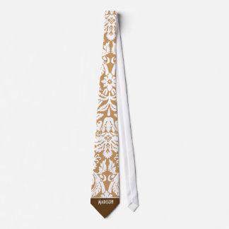Cute Brown, Tan Damask Neck Tie