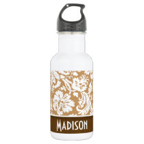 Cute Brown, Tan Damask Water Bottle
