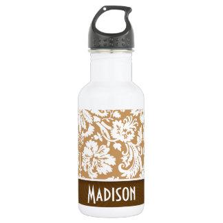 Cute Brown, Tan Damask Water Bottle