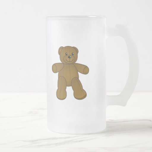 Cute brown teddy bear 16 oz frosted glass beer mug