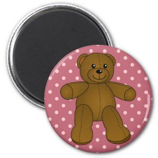 Cute brown teddy bear 2 inch round magnet