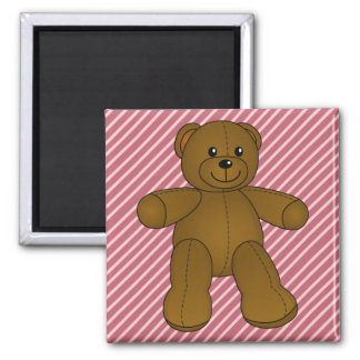 Cute brown teddy bear 2 inch square magnet