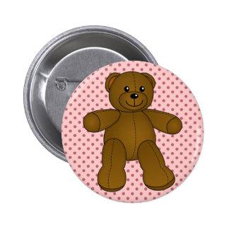 Cute brown teddy bear button