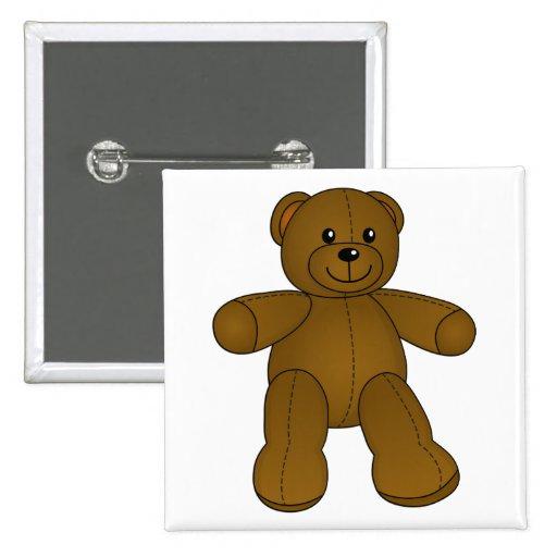 Cute brown teddy bear pinback button
