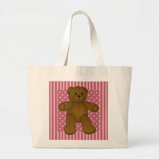 Cute brown teddy bear large tote bag