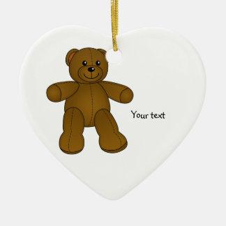 Cute brown teddy bear Double-Sided heart ceramic christmas ornament