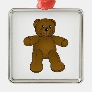Cute brown teddy bear square metal christmas ornament