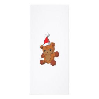 Cute Brown Teddy Bear Red Santa Hat Invitations