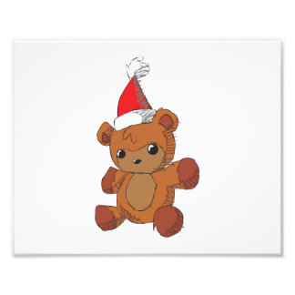 Cute Brown Teddy Bear Red Santa Hat Invitations Photograph