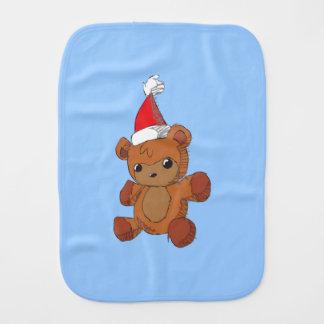 Cute Brown Teddy Bear Red Santa Hat Invitations Baby Burp Cloth