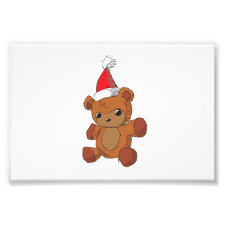 Cute Brown Teddy Bear Red Santa Hat Magnet Wrapper Photographic Print